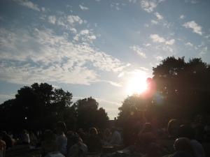 Sun setting behind the trees as the show starts