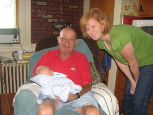 Simon, Great Grandpa Simon, and me 8/25/09