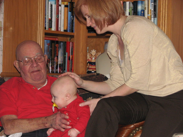 Simon with his Great Grandpa George 2009